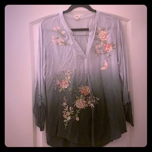 Anthropologie Tiny floral blouse